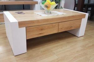 שולחן סלון לבן+אלון